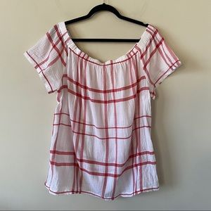 Two By Vince Camuto-Off Shoulder Picnic Plaid Top